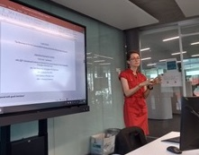 "Image of  PhD Student Claire Barthélémy presenting insight of her doctoral dissertation ""The Emotional Politics of the Humanitarian Gesture"" for the monthly session of the History Brunches."