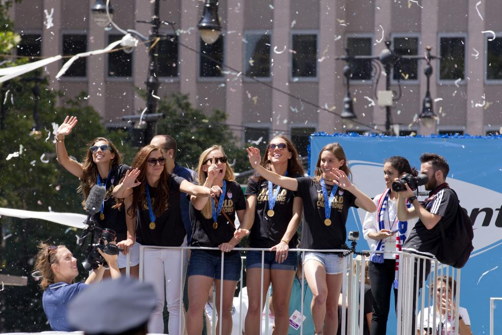 Women's Soccer World Cup players celebrate their victory