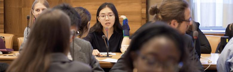 "Within the framework of the 2019 Geneva Peace Week, held from 4-8 November, 16 groups of students from the Institute's interdisciplinary master programme presented their Capstone Projects at the United Nations in the presence of Ela Gandhi during an event called ""Fresh Perspectives on Peace and Security""."