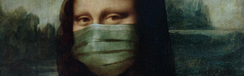 Image of the Mona Lisa with a face mask