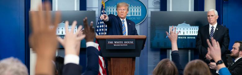 US President Donald Trump holds a White House press conference