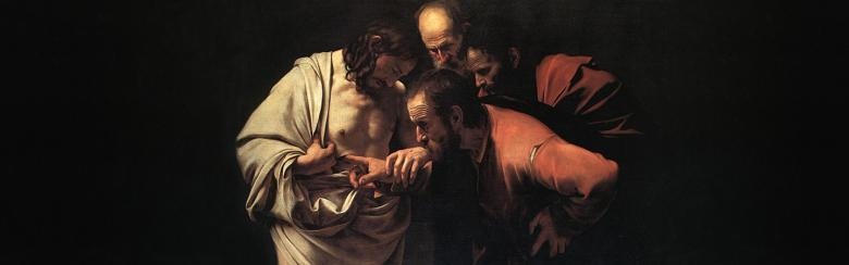 In caravaggio's painting Saint Thomas touches Jesus' stigmata to believe he is come back from the dead