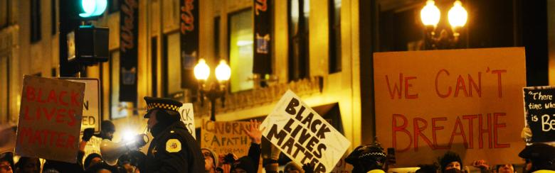 People protest police brutality against African Americans.