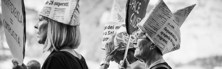 Women demonstrating during an anti-racist event in Ventimiglia