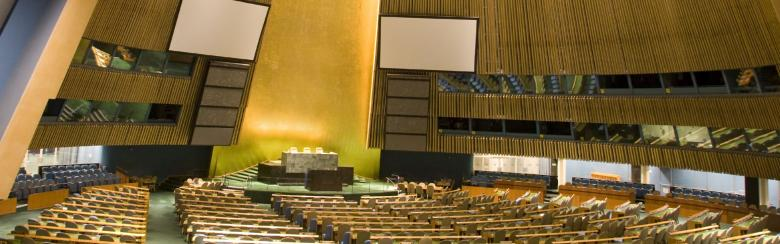 An empty UN General Assembly room in NYC