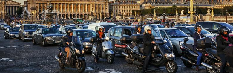 Traffic jam in Place de la Concorde, Paris, France.