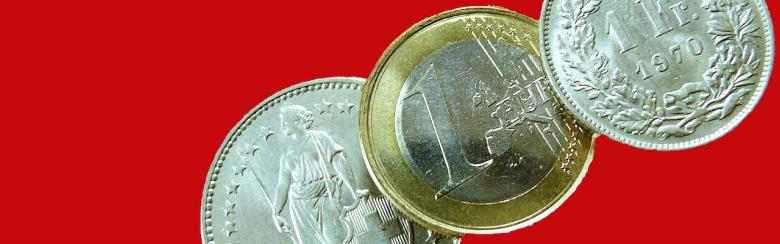 Swiss franc and euro coins