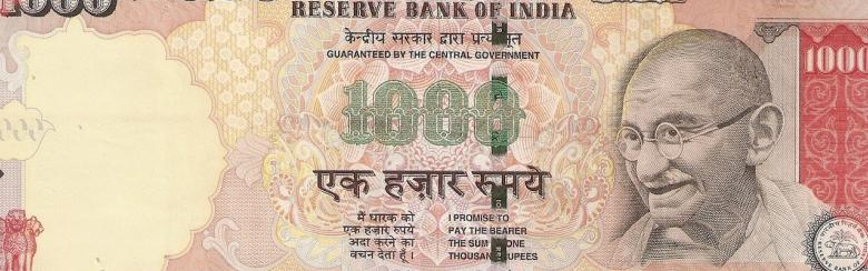 INR 1000 banknote, MG series, 2006, obverse.