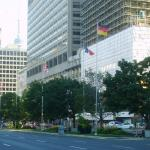 Flags of the members of G7 at University Avenue in Toronto